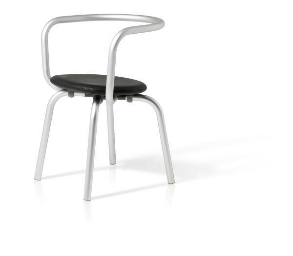 Emeco Parrish furniture - chair, tall silver frame with black leather seat