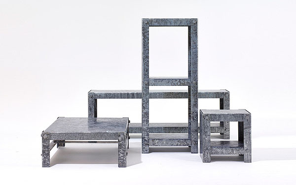 Galvanized side table