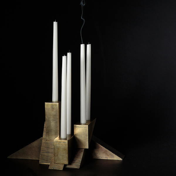 APPARATUS - CANDLE BLOCKS - GROUP AGAINST BLACK